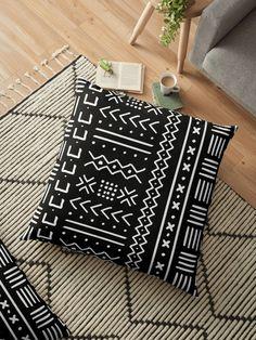'Hand drawn mudcloth' Floor Pillow by hellcom Fabric Paint Designs, Fabric Design, Home Decor Fabric, Home Decor Furniture, Cushions On Sofa, Pillows, Throw Pillow, Rangoli Side Designs, Fabric Paint Shirt