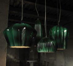 Lampe suspension contemporaine d extérieur en verre GINGER by