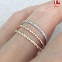 Diamond Eternity Ring 18k 14k . Skinny Micro Pave Eternity Band. Full 3/4 Half . Wedding Band Thin Diamond Ring. Yellow White Rose Gold The timeless, elegant, diamond set eternity ring. Solid 18k gold, set with bright white G color brilliant cut diamonds. Stunning worn alone or stacked with