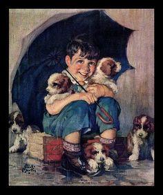 "VINTAGE 1940'S LITHOGRAPH ""SINGIN IN' THE RAIN"" BOY-PUPPIES CALENDAR ART PRINT"
