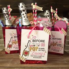 Before she says I do - let's pop a cork or two! Custom Bachelorette survival kits, created for a weekend getaway. Contents: mini bottle of champagne, compact mirror, tylenol, band aids, hair ties, bobby pins, mints and more. Perfect goodie bags for a girls trip!