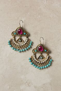 Komnene Chandeliers - Earrings  #earrings #diy #crystal #turquoise #pearl  Adorned with ruby-red crystals, turquoise bits and tea-stained pearls, these regal brass danglers were handmade using the lost wax method. By Gypsy.