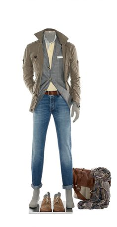 Brunello Cucinelli ss12 - parachute cotton safari jacket, grey windowpane sport coat, beige bicolour collar polo shirt, brown belt, blue denim basic compact pants, suede belt with palladium-plated buckle