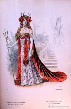 Arte: LA MODE ARTISTIQUE ORIGINAL S.XIX, G. JANET, COLOREADA A MANO, MODA ELEGANTE DE CARNAVAL, PARIS, 43X - Foto 2 - 48652525