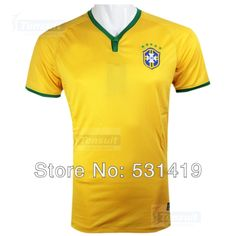 Free Shipping Brazil 2014 World Cup Jersey Shirt Best Thai Quality Neymar Home Yellow Soccer Jersey Dry Fit $28.50 - 29.50