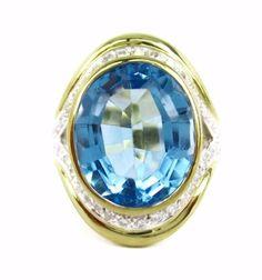 Estate Vintage 10.40CT Fine Blue Topaz & Diamond Ring 18K Yellow Gold #Handmade #Cocktail