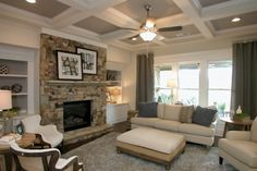 Family room at Sterling on the Lake - Tipton Homebuilders Flowery Branch, Beautiful Homes, Building A House, Floor Plans, Family Rooms, Living Rooms, Georgia, Home Decor, Flat