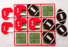 Tic-Tac-Toe Game Football Red by gailscrafts on Etsy Plastic Canvas Books, Plastic Canvas Crafts, Plastic Canvas Patterns, Crochet Game, Crochet Football, Tent Stitch, 4 Ply Yarn, Cotton Polyester Fabric, Tic Tac Toe Game