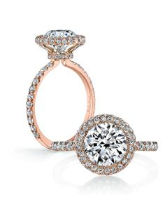"""Handcrafted, custom made Jean Dousset signature design. Flush Fitting Engagement ring and Wedding Band Set. Mounting and band set exclusively with colorless accent diamonds. Approx: 1.10 total carat weight. Shown with Round Brilliant cut diamond in Rose Gold. Available in platinum and 18K gold Exclusively available at Jean Dousset"""""""