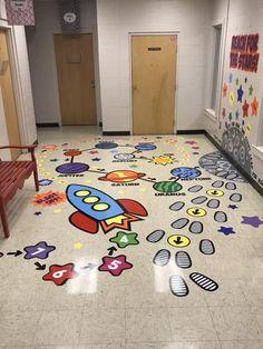 """Blast Off"" Sensory Path Package - Saskia Sensory Wall, Sensory Rooms, Sensory Activities, Playground Painting, Sensory Pathways, School Hallways, School Social Work, Sensory Integration, Floor Stickers"