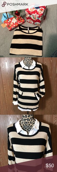 Kensie Striped Sweater Adorable and super soft striped sweater from Kensie. Size is XXL and it's in excellent condition It does have a tie in the bottom but it is cut and not noticeable. Bust is 26.5 inches and it is 27 inches long.   It is paired with a long sleeve white shirt from old navy that is also for sale.   All sales are going towards college tuition for the spring semester! I am majoring in Elementary Education and I love it! Thanks so much for helping me reach my goal of becoming…