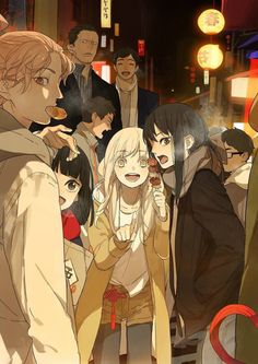 """The main characters Qiu Tong (秋瞳) and Sun Jing (孙璟) with the recurring characters from the manhua """"Tamen De Gushi (Chinese: 她们的故事 English: Their Story)"""" by Tan Jiu (坛九)."""