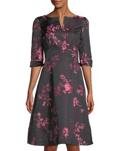 7abb8f147489 3 4-Sleeve Embroidered Cocktail Dress Cocktails