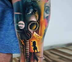 Very nice 3 colors abstract tattoo style of Gas Mask motive done by tattoo artist A. Gas Mask Tattoo, I Tattoo, Body Art Tattoos, Tatoos, Gas Mask Girl, Tattoo Ideas, Tattoo Designs, Gas Masks, World Tattoo