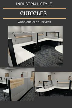 These Herman Miller cubicles were designed with an industrial feel. We have glass, pipe legs, and these incredible wood accents! #greencleandesigns #industrialofficedesign #woodcubiclesshelves