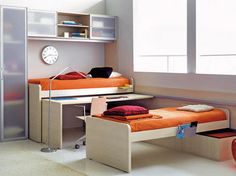 40 Excellent Kids And Teen Room Design Ideas From Asdara: 40 Excellent Kids And Teen Room Design From Asdara With White Wall Wooden Cupboard Orange Bed Pillow Blanket Red Cushions Carpet Hardwood Floor Teen Room Designs, Teenage Girl Bedroom Designs, Teenage Girl Bedrooms, Girls Bedroom, Girl Rooms, Space Saving Furniture, Kids Furniture, Teenager Zimmer Design, Jugendschlafzimmer Designs