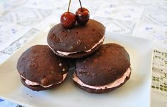 Maraschino Whoopie Pies - love the pink filling!
