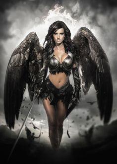 Fantasy Art Women, Beautiful Fantasy Art, Dark Fantasy Art, Fantasy Girl, Fantasy Artwork, Fantasy Female Warrior, Angel Warrior, Female Art, Woman Warrior