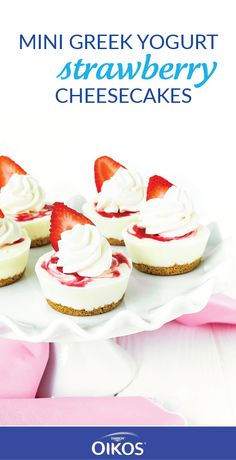 Wouldn't you agree that bite-sized versions of your favorite desserts are simply more delicious than the original? Us too! That's why this recipe for Mini Greek Yogurt Strawberry Cheesecakes is our top-pick for summer. See how Dannon® Oikos® Nonfat Single Serve Vanilla Greek Yogurt, graham cracker crumbs, and a homemade strawberry sauce make this sweet treat easy to create! Find these ingredients—as well as a variety of other delicious flavors of Dannon® Yogurt—at your local Walmart.