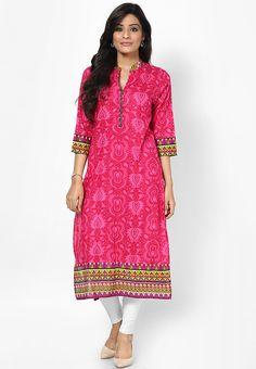 Cotton Fuchsia Printed Kurta Online   Buy Shree Kurtas & kurti India.