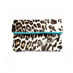 Leopard Leather Clutch Wild Cheetah Fold Over by gmaloudesigns