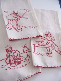 Red Work on Linen Tea Towels. Antique Hand Embroidered Linen. Dutch . Set of 3
