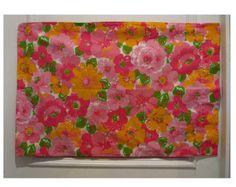 Vintage 70s floral PILLOWCASE pink fuchsia yellow green white.