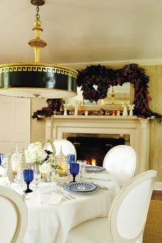 Bunny Williams' holiday collection for Ballard Designs Note lamp shade in ceiling...