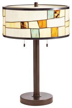 Arts and Crafts - Mission Kichler Mihaela Tiffany Style Shade Bronze Table Lamp modern lamp shades