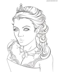 Image detail for -coloring page with stunning elf queen
