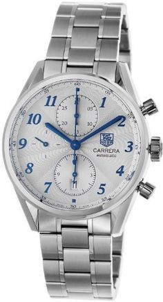 TAG Heuer Men's CAS2111.BA0730 Carrera Silver Dial Chronograph Steel Watch TAG Heuer. $2925.00. Silver dial. Chronograph feature. Water-resistant to 100 M (330 feet). Stainless steel bracelet. Automatic movement. Save 36%!