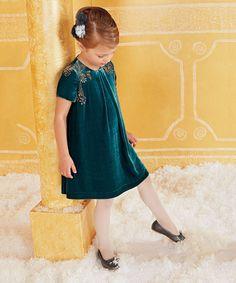 Look what I found on #zulily! Teal Beaded Velvet Dress - Girls #zulilyfinds