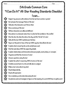 A checklist for students to assess themselves on meeting Common Core Standards....