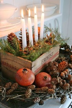 Christmas decoration tips from Vibeke Design - Pomegranates dry really well - when they are dried out completely rub some furniture polishing wax on them to enhance the colour. They will last for years. Swedish Christmas, Natural Christmas, Noel Christmas, Primitive Christmas, Scandinavian Christmas, Country Christmas, Simple Christmas, All Things Christmas, Winter Christmas