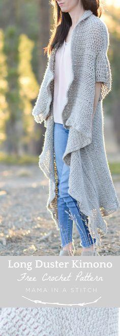 Endless Drape Kimono Duster Crochet Pattern via @MamaInAStitch and easy pattern for a gorgeous kimono cardigan that is super long! #freecrochetpatterns #easycrochetpattern #crafts #diy