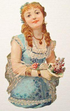 Victorian Die Cut Scrap Lovely Woman in Blue