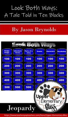 This is a Jeopardy style trivia gameshow to review the novel Look Both Ways by Jason Reynolds Questions include facts about characters that specific to the novel. Questions also include literature terminology such as conflict, climax, theme, setting, point-of-view, author's purpose, genre, narrator, resolution, and narrative. There is a Daily Double and Final Jeopardy Question. Jeopardy music plays on the Final Jeopardy slide. This product is completely editable. Reading Resources, Reading Strategies, Teaching Reading, Teacher Resources, Learning, Teaching Ideas, Middle School Novels, Authors Purpose, 4th Grade Reading