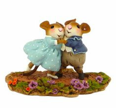 Garden Party Handcrafted Mouse Sculptures by Wee Forest Folk. Great as a gift for a couple!