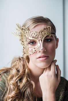 Roxy leather mask in gold by TomBanwell on Etsy