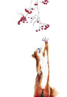 Eichhörnchen mit Beeren - ein Designerstück von janine sommer bei DaWanda