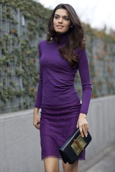 Embrace your favorite shade with a monochromatic look like this purple lover.