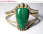 ON SALE Vintage MEXICO 925 Silver Tribal Face Cuff Bracelet, Mexican, Handcrafted, Carved Green Onyx, Wonderful!  #B014