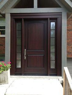 New fiberglass entry door Ideas Exterior Front Doors, Fiberglass Front Door, Wood Doors Interior, Painted Front Doors, Fiberglass Entry Doors, Modern Exterior Doors, Modern Entrance Door, Wooden Door Design, House Exterior