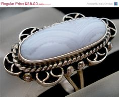 On Sale Today Vintage Lace Agate Ring Sterling Silver Gemstone 9 Signed CII Mexico Jewelry