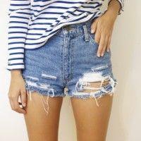 DIY Distressed Denim Cut-Off Shorts