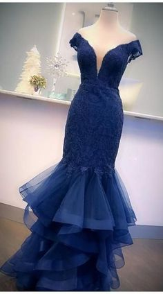 Charming V neck Navy Appliques Prom Dress, Formal Mermaid Tulle Evening Dress T1846