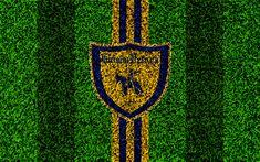 Download wallpapers Chievo Verona FC, 4k, logo, football lawn, Italian football club, blue yellow lines, emblem, grass texture, Serie A, Chievo, Italy, football