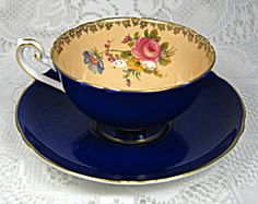 Shelley Cobalt Blue Chantilly Cup And Saucer Lincoln Shape