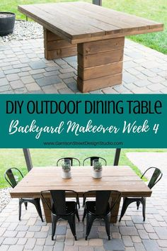 DIY Outdoor Dining Table Garrison Street Design Studio is part of Cheap patio furniture Welcome back to week 4 of the One Room Challenge! If you are just tuning in, start with week week and - Diy Dining Table, Patio Dining, Deck Table, Outdoor Patio Tables, Diy Wood Table, Outdoor Table Plans, Garden Table And Chairs, Dining Decor, Outdoor Lounge