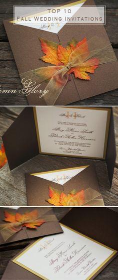 maple leaves inspired fall wedding invitations